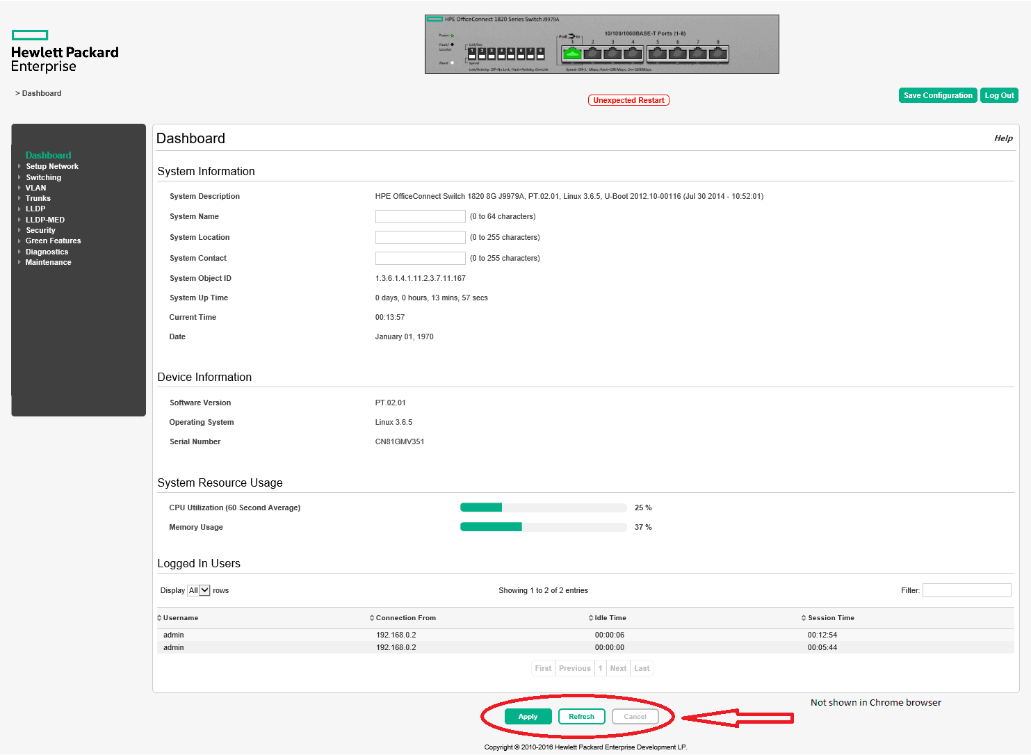 HPE OfficeConnect Switch 1820 not saving configuration